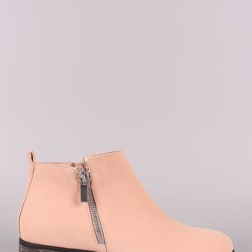 Bamboo Nubuck Zipper Trim Almond Toe booties