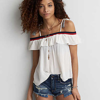 AEO Tie Strap Top , Cream