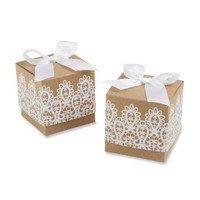 Shabby Chic Party Favor Rustic Party Favor Lace party Favor Kraft favor boxes