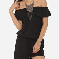 Casual Falbala Loose Fitting Dacron Plain Rompers