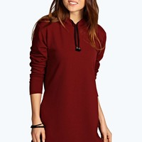 Steph Hooded Crepe Shift Dress