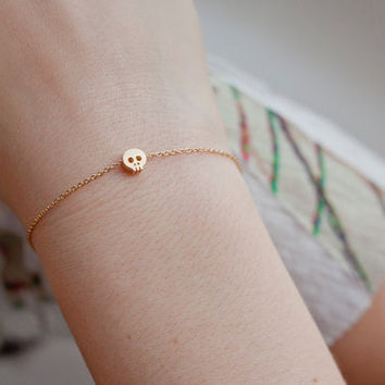 Tiny skull bracelet, 14kt gold filled chain with matte finish skull charm, dainty bracelet
