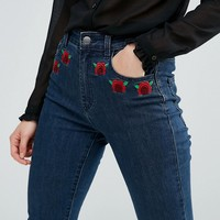 First & I Embroidered High Waist Jeans
