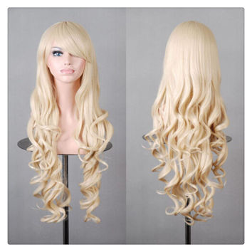 Women New Fashion Women Girl 80cm Wavy Curly Long Hair Full Cosplay Party Sexy Lolita wig Yellow