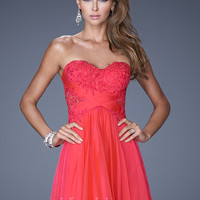 La Femme 20632 - Watermelon Lace Illusion Prom Dresses Online