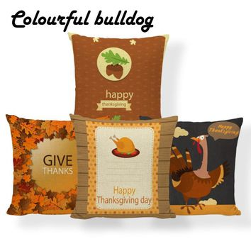 Pumpkin Spice Turkey Cushion Happy Thanksgiving Pillowcase Maple Leaf Vintage Farmhouse Lumbar Throw Pillow 45X45Cm Cotton Blend