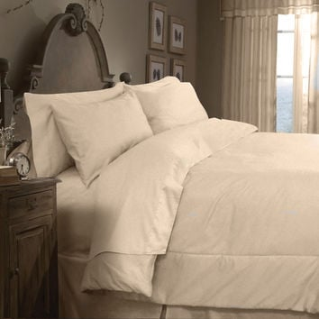 Veratex Home Indoor Bedroom Supreme Sateen 300 Solid Comforter Set King Taupe
