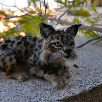 Needle Felted Animal. Bobcat. Lynx. Made to order