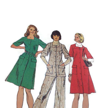 Vintage 60's Simplicity Dress Sewing Pattern Jumper Tunic Bell Bottom Pants Bust 34, Miss Size 12