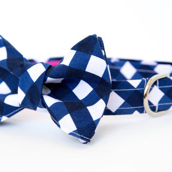 Navy Gingham Bow Tie Dog Collar