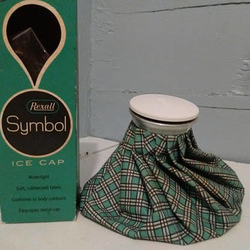 "Vintage, Ice Cap, 9"", Rexall, Ice Pack, Ice Holder, Soft, Cloth, Plaid, Turquoise, Rubberized, Photography Prop, RhymeswithDaughter"