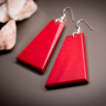 Red Wood Earrings, Red Dangle Earrings, Dangle Earrings, Wood Earrings, Handpainted Earrings, Geometric Earrings, Wooden Jewelry, Handmade