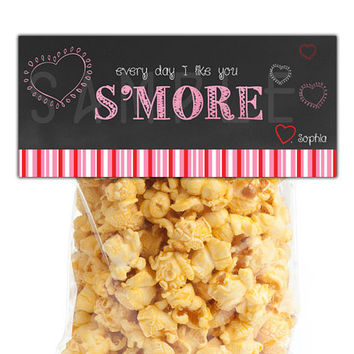 Like You Smore Valentine Bag Topper - Class Valentines - Kids Girls Hearts Chalk Valentines Day Ideas -  Bag Toppers for Classroom - Vday