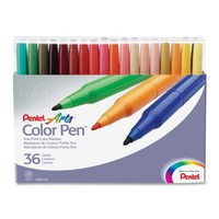 Pentel Color Pen Set, Set of 36  Assorted Colors (S360-36)