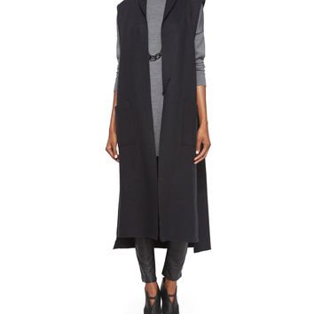 Boiled Cotton/Wool Long Kimono Vest, Size:
