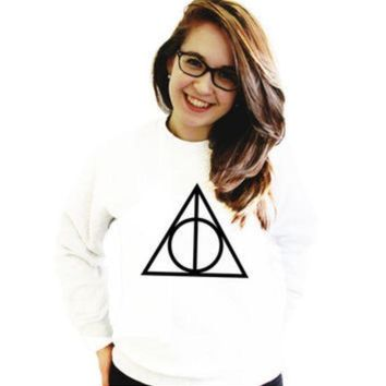 PEAPIH3 [Deathly Hallow] Death Hallows printed solid color women's sweater