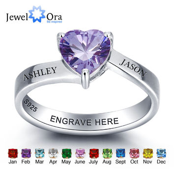 Personalized 925 Sterling Silver Heart Birthstone Ring