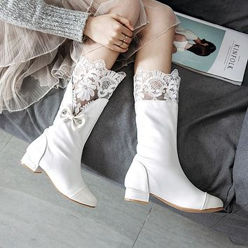 Lace Patchwork Bowknot Low Chunky Round Toe Half Boots