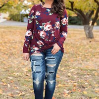 Dahlia Floral Long Sleeve Top (Burgundy)