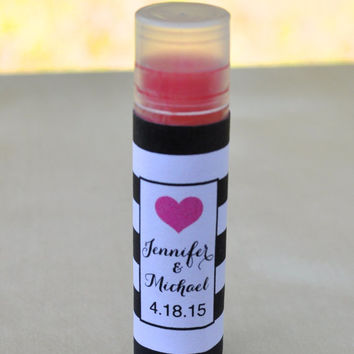 Bold Heart Bridal Shower or Wedding Favor, Personalized Lip Gloss Wrappers
