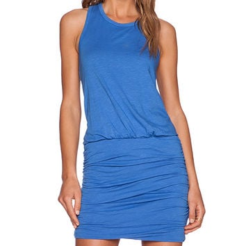 SUNDRY Ruched Tank Dress in Blue