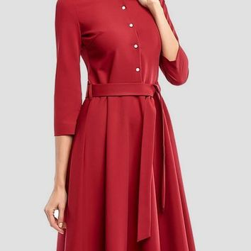Red Single Breasted Draped Sashes 3/4 Sleeve Elegant Midi Dress