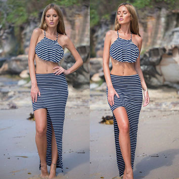 Striped Halter Crop Top & Maxi Skirt with Slit
