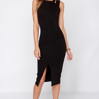 One Fit Wonder Black Bodycon Midi Dress