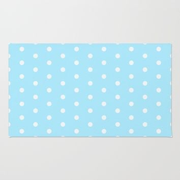 Polka dot pattern, classic blue, dotted, retro style design, white points, circles, vintage pin-up Rug by Peter Reiss