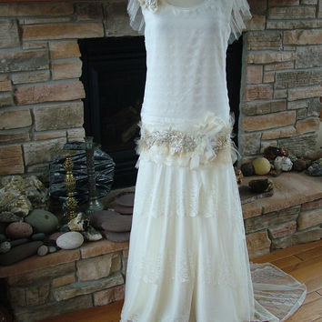 Original 1920s Inspired wedding dress Flapper gown Beaded antique lace dress