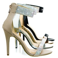 Royals46 Nude by Anne Michelle, High Heel Dance Sandal w Rhinestone Crystal & Thick Ankle Strap