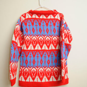 Awesome Vintage 60s/70s Retro Bright Colorful Swiss Mountain Vibes Knit Wool Sweater Unisex