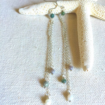 Long Chain Earrings - Green Jasper Earrings - Silver Chain Earrings - Chain Dangle Earrings - Simple Earrings - Shoulder Duster Earrings