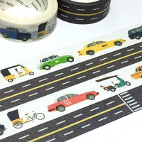 world taxi traffic road washi tape 7M cool car masking sticker car themed world traveller travel planner sticker boy sticker kids cool gift