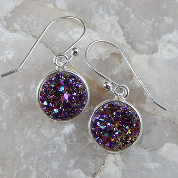 Purple Druzy Earrings Sterling Silver Drusy Quartz Drops - Free Shipping Jewelry