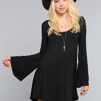 Sabrina Bell Sleeve Dress - Black - Clothes | GYPSY WARRIOR