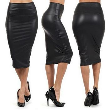 2017 Winter Autumn Women Plus size PU Leather Skirt High Waist Pencil Skirts Sexy Club Vintage Bodycon Midi Skirt jupe faldas