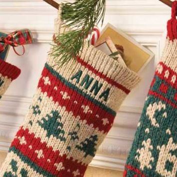 Personalized Christmas Stockings, Knitted Christmas Stockings, Personalized Stocking Hangers, and Knitting Patterns.