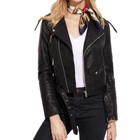 2017 New Ladies Fashion Jacket Women Trend Personality Faux Leather Racing Style Biker Jacket Chaquetas Mujer Primavera