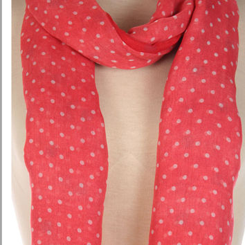 Dark Coral Scarf with Blue Polka Dots