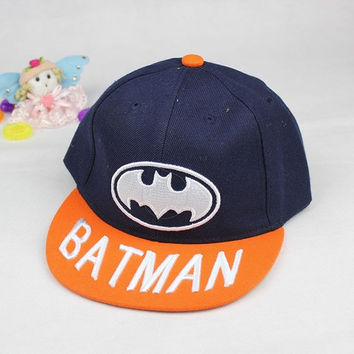 BABY INFANT HAPPY BOYS BATMAN FLAT EDGE BASEBALL HAT TOP INFANT KIDS HIP-HOP CAP