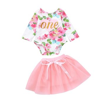 Baby girl first birthday outfit | floral print | tutu skirt