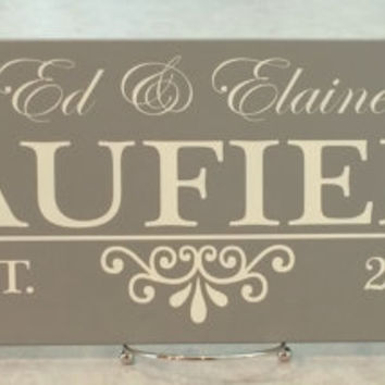 Established Name Sign, Painted Gray 7x22, Personalized Family Name Sign Plaque, Awesome Custom Wedding / Anniversary / Housewarming Gifts