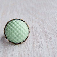 Mint cabochon ring, mint ring, polymer clay cabochon, textured cocktail ring, statement ring, vintage style ring