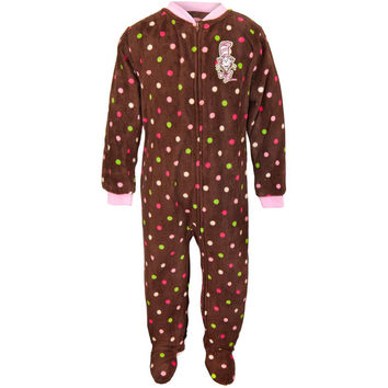 Dr. Seuss - Cat Chat Polka-Dot Brown Toddler Footed Pajamas