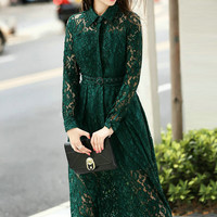 Green Long Sleeve Drawstring Lace Maxi Dress