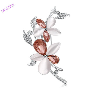 Lenora new flower made of dark brown shine glass and opal stone with rhienstone inlayed woman Brooch Alternative Measures VIENNOIS - Mother's Day Bride Wedding Gift