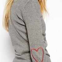 ASOS Jumper With Heart Outline Elbow Patches