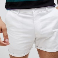 boohooMAN Chino Shorts In White at asos.com
