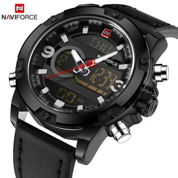 NAVIFORCE NF9097G Luxury LED Sports Men's Army Military Leather Strap Watch